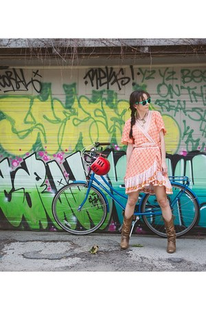 brown cowboy thrifted boots - carrot orange wrap dress Cabo Gypsy dress