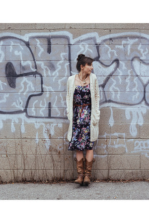 off white long cardigan Ruche cardigan - brown vintage unknown boots