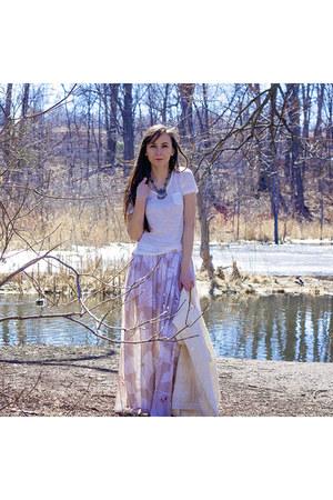 camel maxi Goddess of Babylon skirt - ivory buttoned homemade sweater