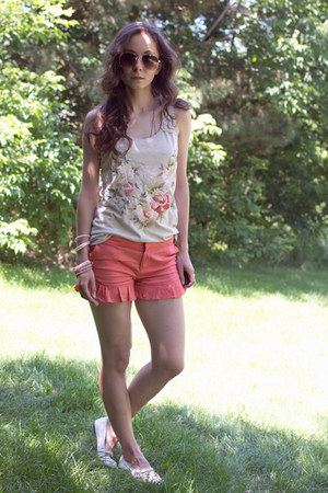 tan embroidered Botany and Lace Tank shirt - white ballerina Payless shoes