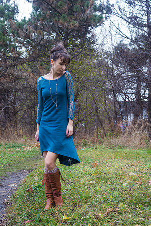 tawny slouchy unknown boots - teal Ruche dress