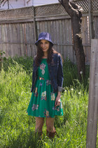 navy straw f21 hat - tawny slouchy Feet First boots - green floral unknown dress