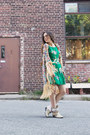 Dark-green-floral-ruche-dress-camel-kimono-unknown-jacket