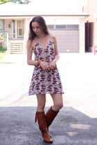 tawny slouchy Feet First boots - pink sheer paneled Lush dress