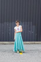 turquoise blue maxi skirt Spell Designs skirt - eggshell diyed DIYed boots