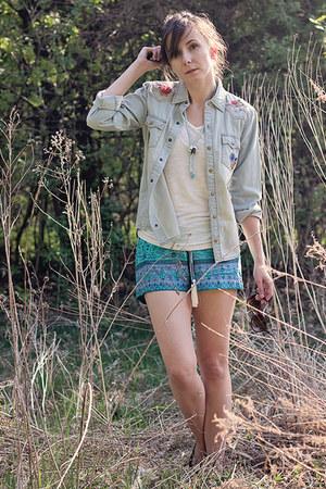 blue Spell Designs shirt - sky blue boho print Spell Designs shorts