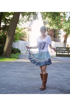 ivory spock shirt unknown shirt - turquoise blue mini skirt Spell Designs skirt