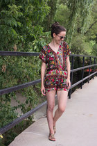 brick red lightweight Hot&Delicious romper - camel fringed f21 sandals