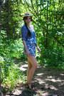 Blue-bohemian-arnhem-romper-brown-fringed-aldo-sandals