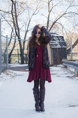 gray cardigan covet sweater - crimson polka dot asos dress