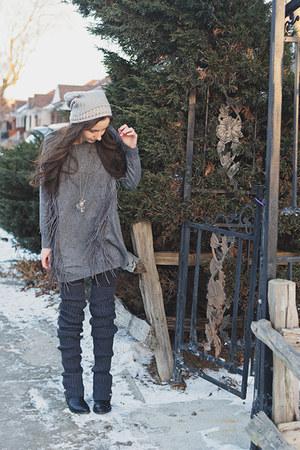 gray leg warmers free people socks - charcoal gray fringe Sheinside sweater