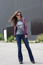 purple paisley Zara blazer - navy bootcut Gap jeans