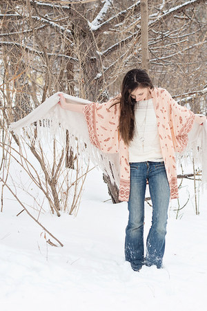 peach kimono Spell Designs jacket - off white lace unknown top