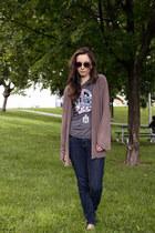 heather gray chiffon beaded Ark&Co jacket - navy straight leg Gap jeans