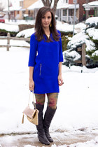 blue shift H&M dress - gray knee high Browns boots