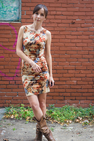 brown cowboy thrifted boots - light brown bodycon threadsence dress