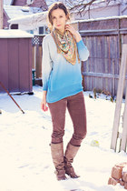 sky blue ombre unknown sweater - neutral paisley unknown scarf