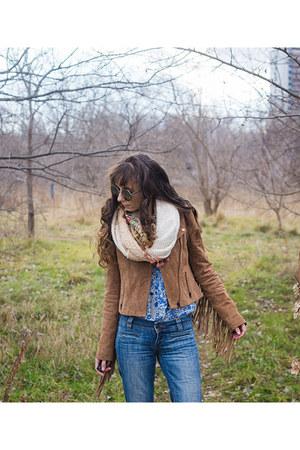 blue flared dittos jeans - brown fringe asos jacket - blue floral Zara shirt