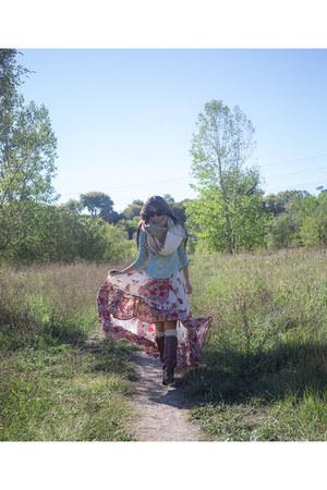 dark brown riding unknown boots - aquamarine crochet free people shirt