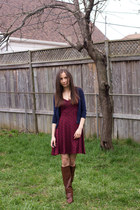 navy cropped Smart Set cardigan - dark brown covered Spring boots
