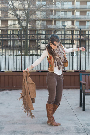 brown fringe Lyst jacket - tawny riding Aldo boots