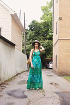 gray fedora unknown hat - green maxi dress Guess dress