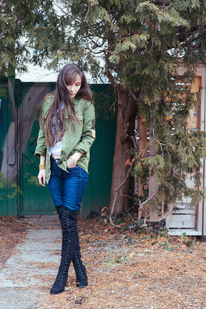 army green military jacket Spell Designs jacket - black asos boots
