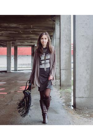 gray tank dress Love Nail Tree dress - dark brown classic unknown boots