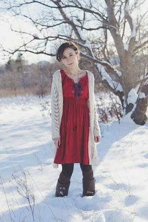 red eShakti dress - dark brown thick unknown tights