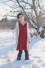 Red-eshakti-dress-dark-brown-thick-unknown-tights