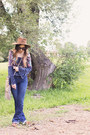 Navy-bootcut-gap-jeans-dark-brown-suede-fedora-henchel-hat-co-hat