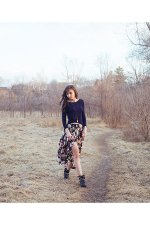 navy classic Zara shirt - black shirred maxi Auguste skirt