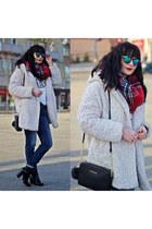 ivory Primark coat - red Primark scarf - black Michael Kors bag