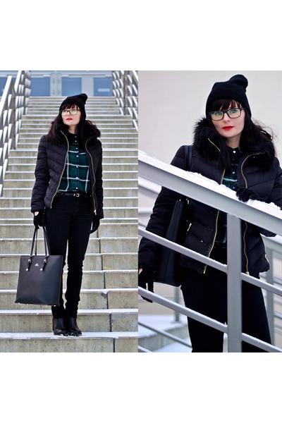 black acne jeans - black H&M jacket - teal H&M shirt