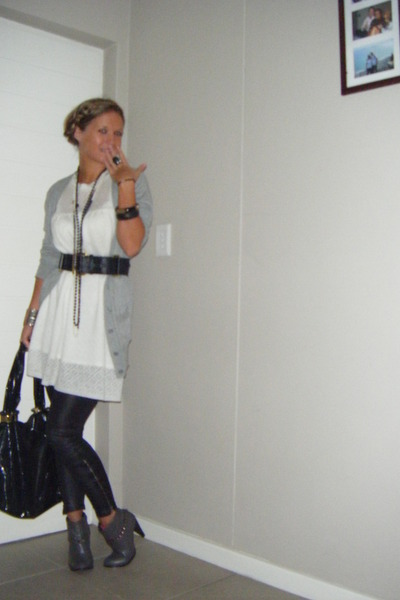 black tights - silver boots - white dress - gray cardigan
