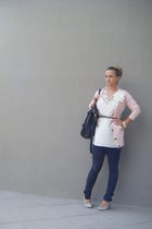 black Foshine jeans - white Mango dress - pink Bershka cardigan - beige Polo sho