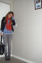 gray jeans - gray sweater - black blazer - gray shoes