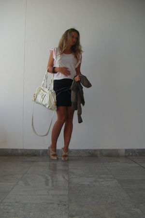 pink shirt - black skirt - beige shoes