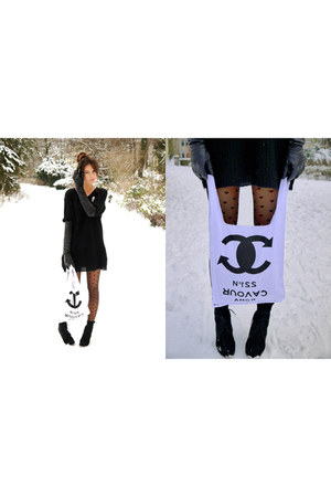 black cardigan - cream bag - white brooch accessories - black gloves - black tig