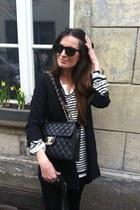 black COS blazer - white Scotch&Soda mens shirt - black Chanel 255 Jumbo bag - b