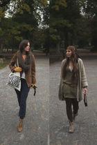 brown shoes - beige shoes - gold gloves - brown jacket - green dress - beige bag