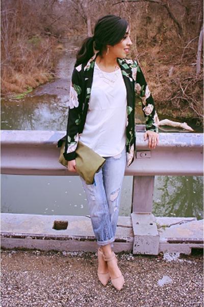 periwinkle Forever 21 jeans - black Forever 21 blazer - olive green H&M bag