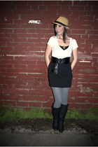 white BDG t-shirt - black BDG skirt - gray Urban Outfitters tights - black Forev