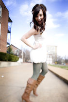 white f21 dress - brown Bakers boots