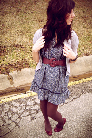 purple Urban Outfitters belt - purple Madden Girl shoes - blue Heritage dress