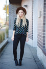 Forest-green-bdg-jeans-navy-sugarhill-blouse
