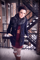 blue unknown scarf - blue American Eagle coat - silver Urban Outfitters tights