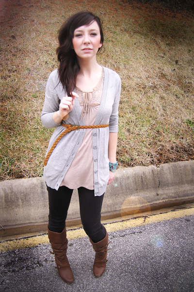 gray H&M cardigan - beige Forever 21 blouse - brown Forever 21 belt - black Fore