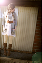 brown Urban Outfitters belt - yellow Target tights - white Target scarf