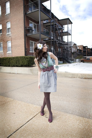 blue a31 dress - purple Urban Outfitters belt - brown Target tights
